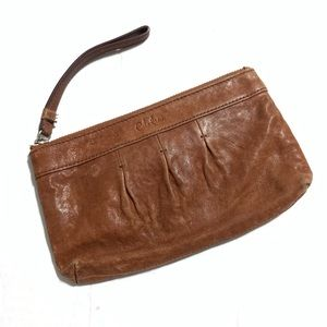 COLE HAAN BROWN CLUTCH WITH WRISTBAND